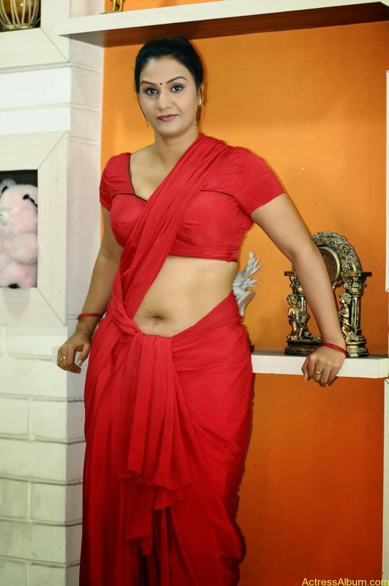 ACTRESS APOORVA VERY HOT IN RED SAREE PHOTO COLLECTION 1