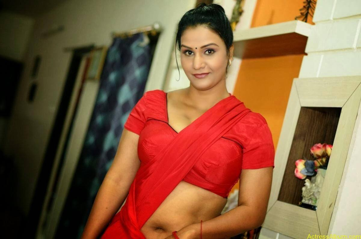 ACTRESS APOORVA VERY HOT IN RED SAREE PHOTO COLLECTION 19