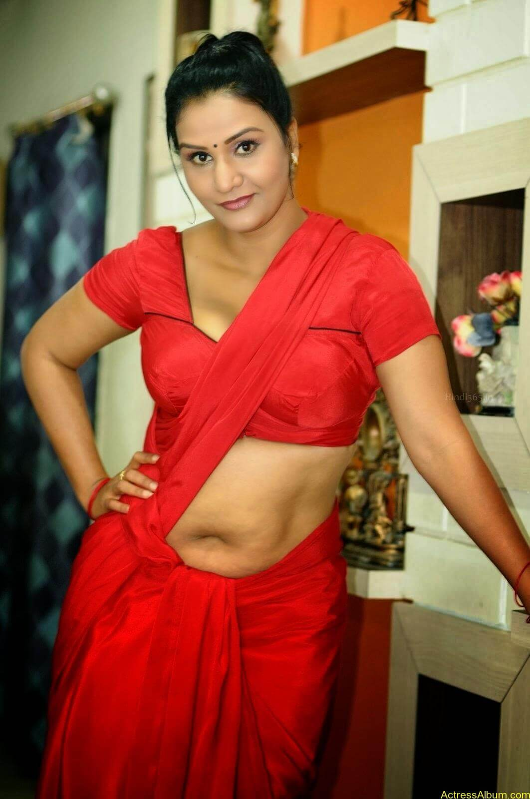 ACTRESS APOORVA VERY HOT IN RED SAREE PHOTO COLLECTION 2