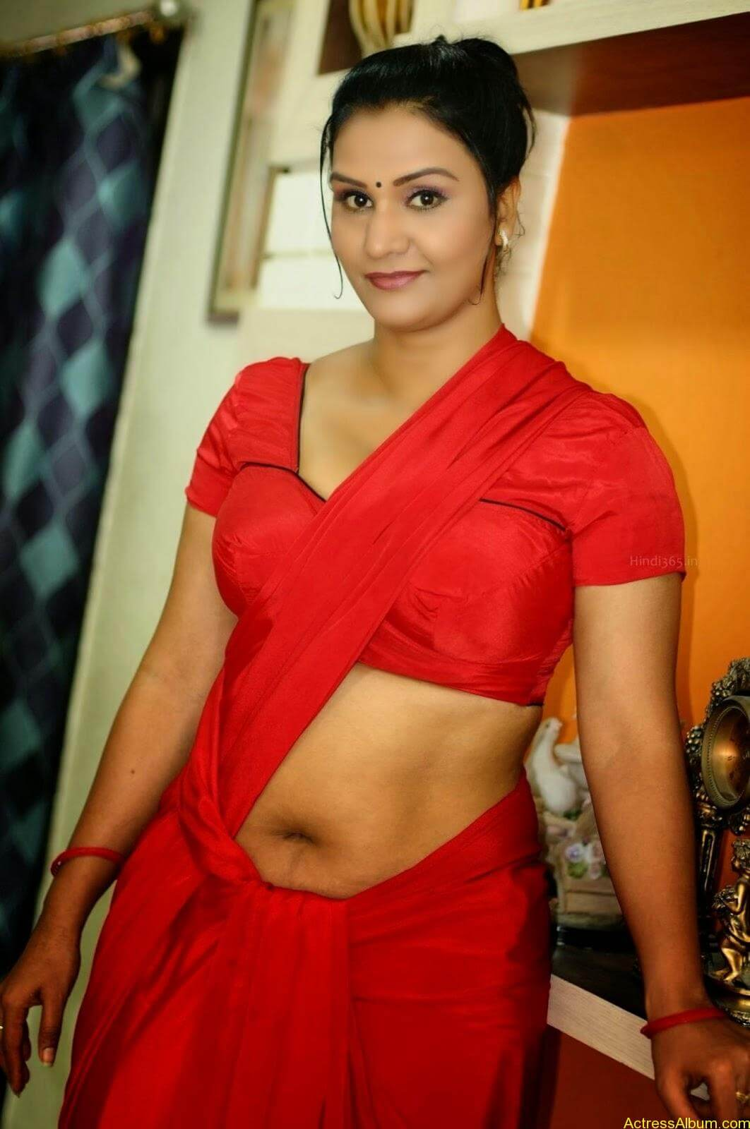 Actress Apoorva Very Hot In Red Saree Photo Collection -7266