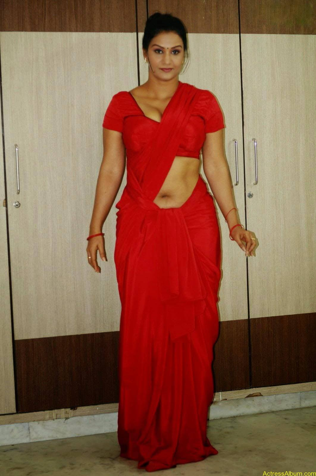 ACTRESS APOORVA VERY HOT IN RED SAREE PHOTO COLLECTION 6