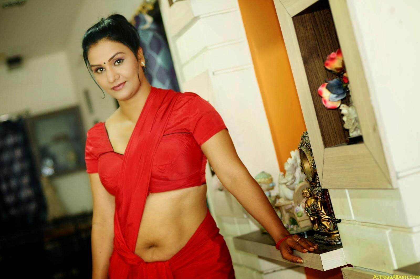 ACTRESS APOORVA VERY HOT IN RED SAREE PHOTO COLLECTION