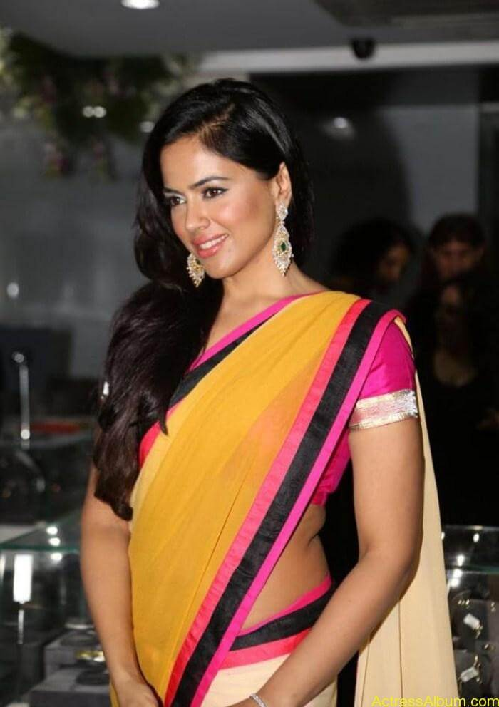 Actress Sameera Reddy Hot Saree Latest Photos