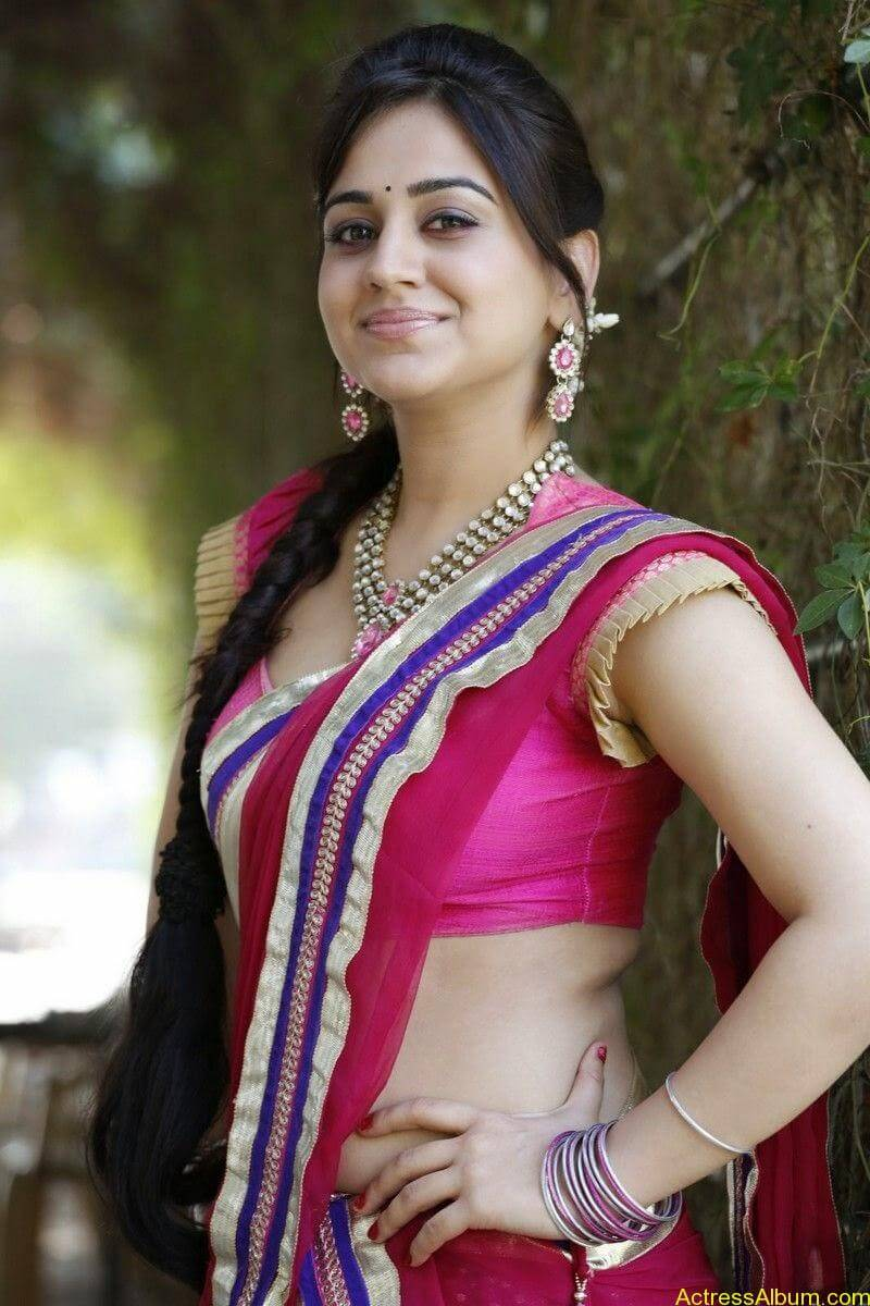 Aksha Pardasany Side View Pics In Pink Saree Photos South Actress2
