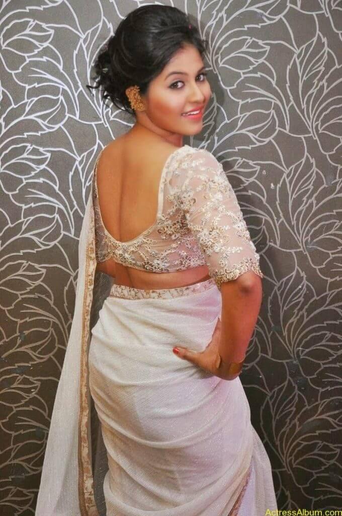 Anjali Hot Stills In Sheer Saree At Geethanjali First Look  (01)