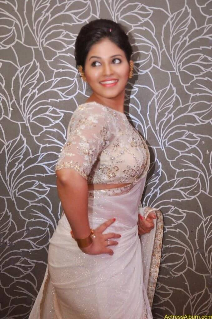 Anjali Hot Stills In Sheer Saree At Geethanjali First Look  (03)
