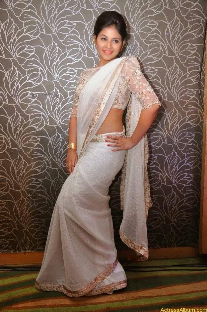 Anjali Hot Stills In Sheer Saree At Geethanjali First Look  (14)
