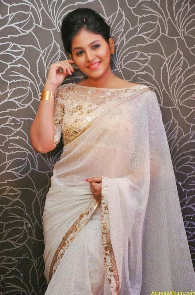 Anjali Hot Stills In Sheer Saree At Geethanjali First Look  (17)