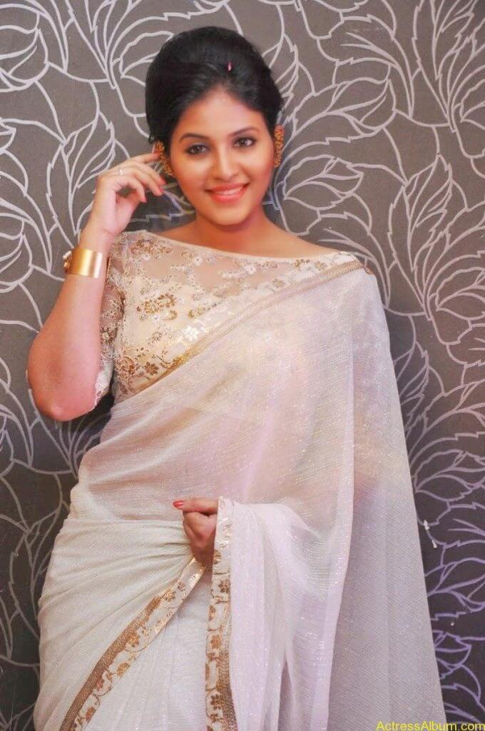 Anjali Sexy In Sheer White Saree - Actress Album-8366