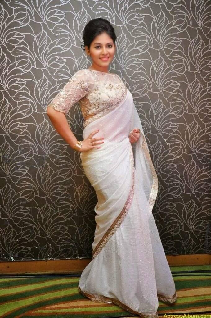 Anjali Hot Stills In Sheer Saree At Geethanjali First Look  (21)