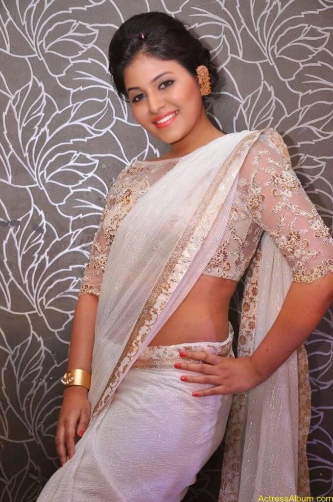 Anjali Hot Stills In Sheer Saree At Geethanjali First Look  (24)