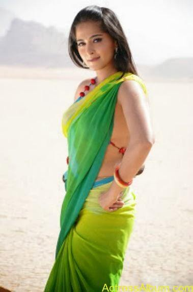 ANUSHKA SHETTY HOT GREEN TRANSPARENT SAREE PICS7