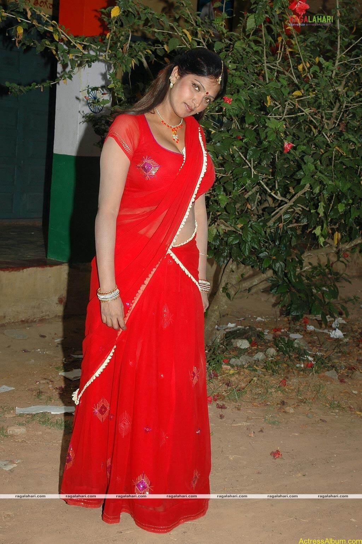 Bhuvaneshwari Hot Stills In Red Saree