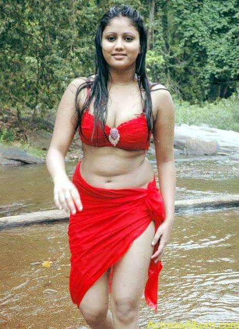 Hot and Wet Amruthavali Exposing Body in Red Bikini2