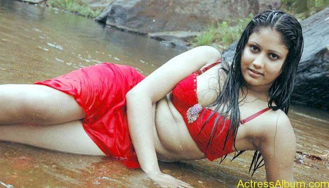 Hot and Wet Amruthavali Exposing Body in Red Bikini3