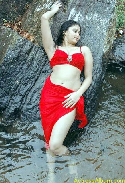 Hot and Wet Amruthavali Exposing Body in Red Bikini4