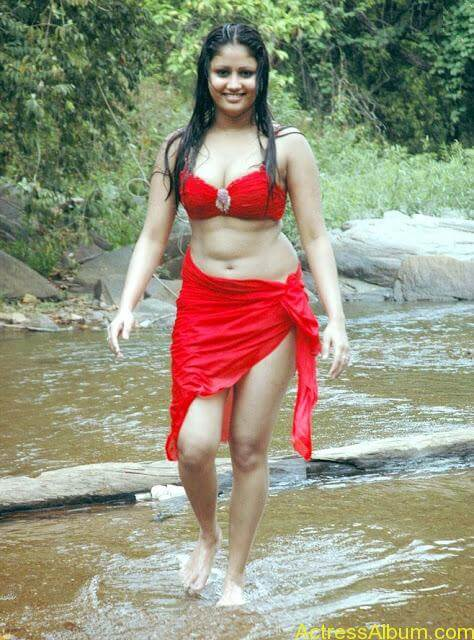 Hot and Wet Amruthavali Exposing Body in Red Bikini5