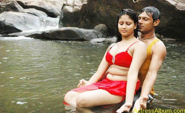 Hot and Wet Amruthavali Exposing Body in Red Bikini6