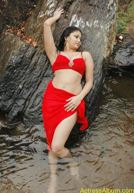 Hot and Wet Amruthavali Exposing Body in Red Bikini7