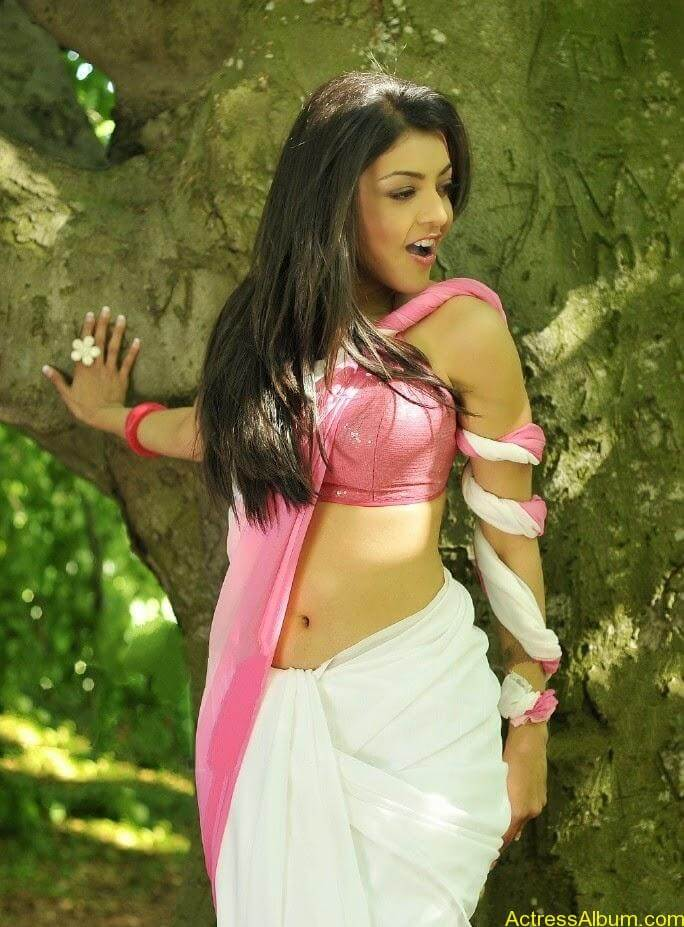 Kajal Agarwal Deep Sexy HD Navel In Pink Saree From Veera 2