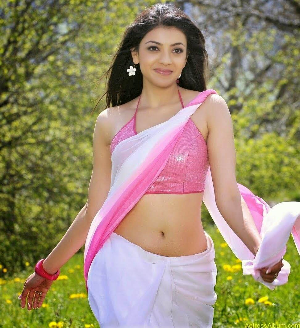 Kajal Agarwal Deep Sexy HD Navel In Pink Saree From Veera