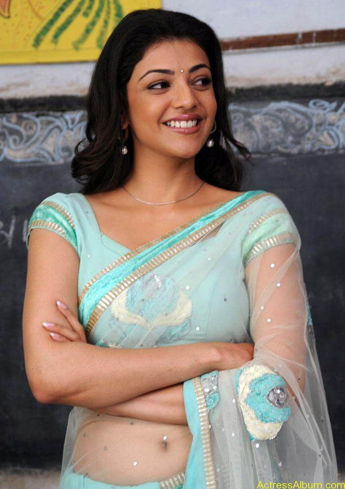 Kajal Agarwal Hot Transparent Saree Photos