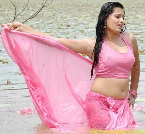 Kannada Actress Roopa Hot Navel Photos in Saree 6