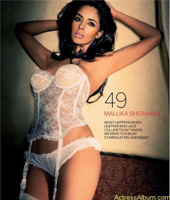 Mallika Sherawat Hot Lingerie Photoshoot in White 2