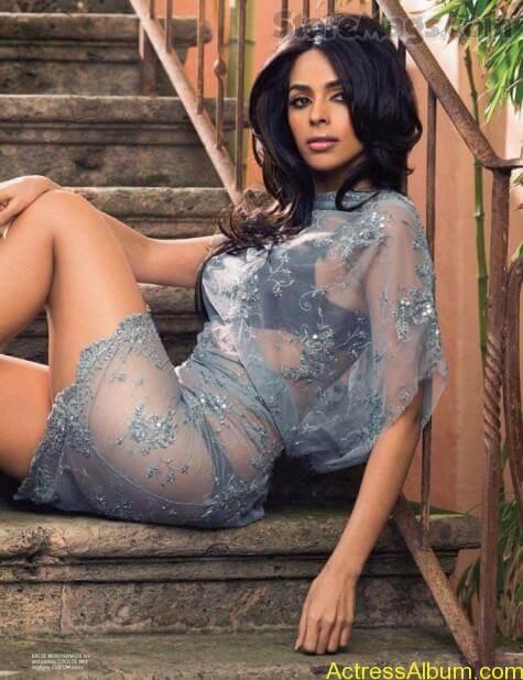Mallika Sherawat Hot Lingerie Photoshoot in White 4