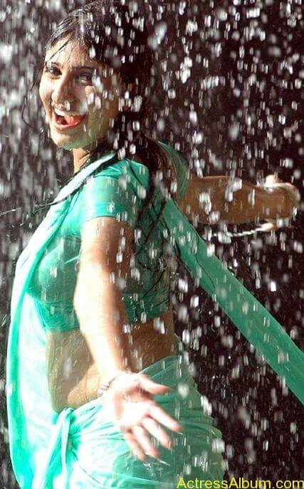 Monica In wet green Saree stills (2)
