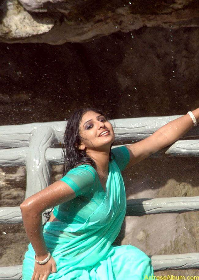 monica_hot_in_green_wet_saree_dance