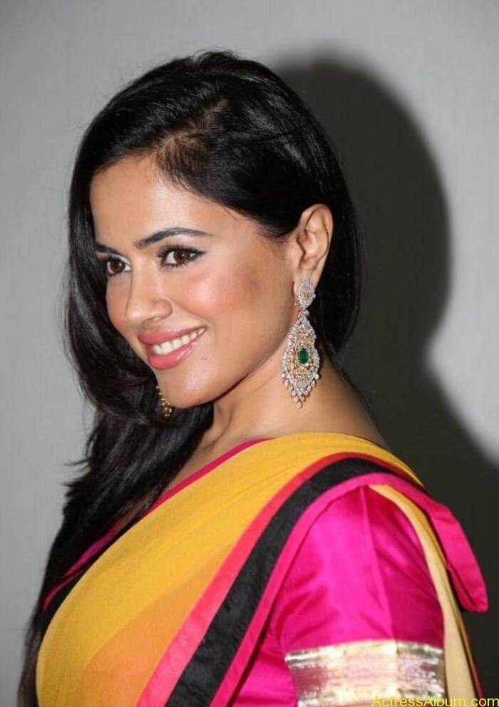 Actress Sameera Reddy in Yellow Pink Saree Photos