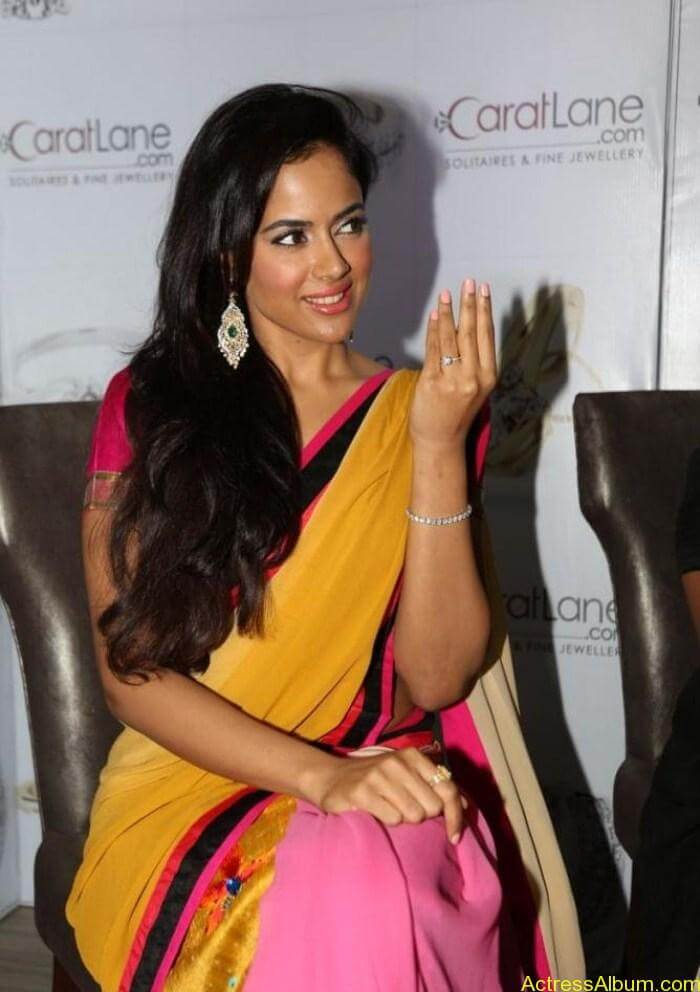 Telugu Actress Sameera Reddy in Yellow Pink Saree Photos