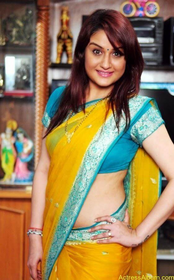 Sonia Agarwal In Yellow Saree Blouse Side View Spicy Hot Pics