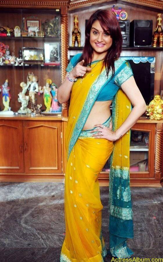 Sonia Agarwal In Yellow Saree Blouse Side View Spicy Hot Pics1