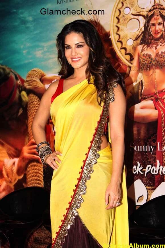 Sunny-Leone-in-Saree-at-the-trailer-launch-Ek-Paheli-Leela