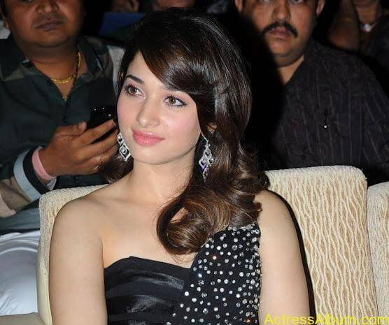 Tamanna In Black Dress at Julayi Audio Launch (1)