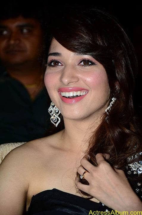 Tamanna In Black Dress at Julayi Audio Launch (3)