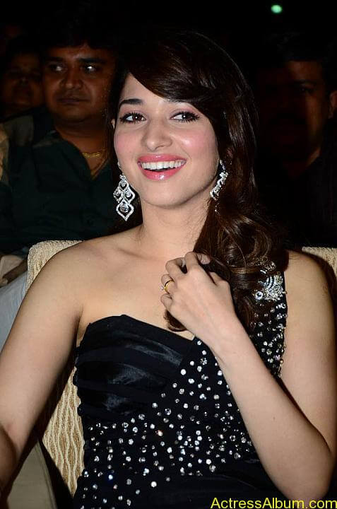 Tamanna In Black Dress at Julayi Audio Launch (5)