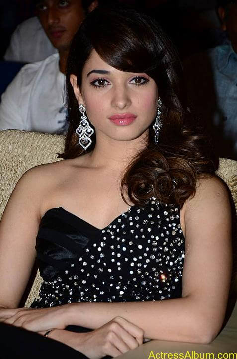 Tamanna In Black Dress at Julayi Audio Launch (8)