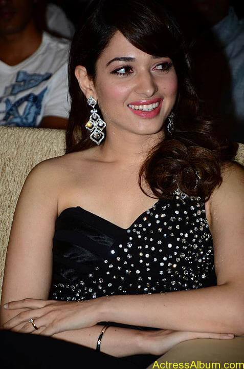 Tamanna In Black Dress at Julayi Audio Launch (9)