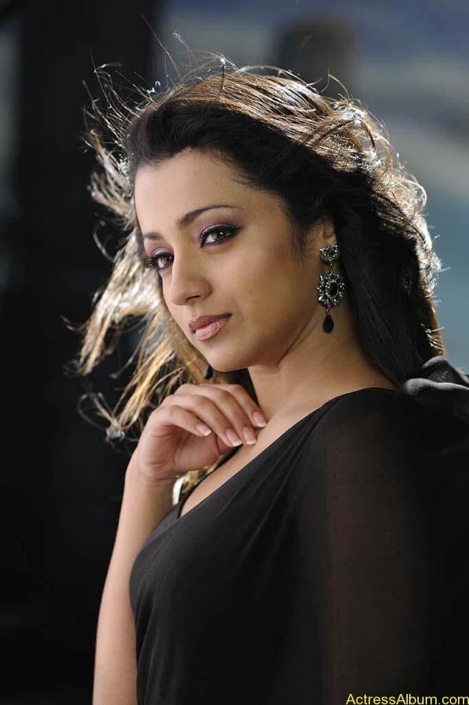 Unseen Hot Trisha Black Saree Navel Photos