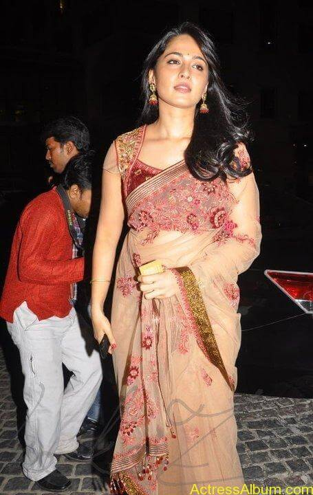 Anushka Shetty in hot saree at filmfare awards7