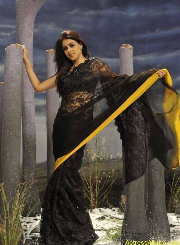 cute_genelia_in_black_saree