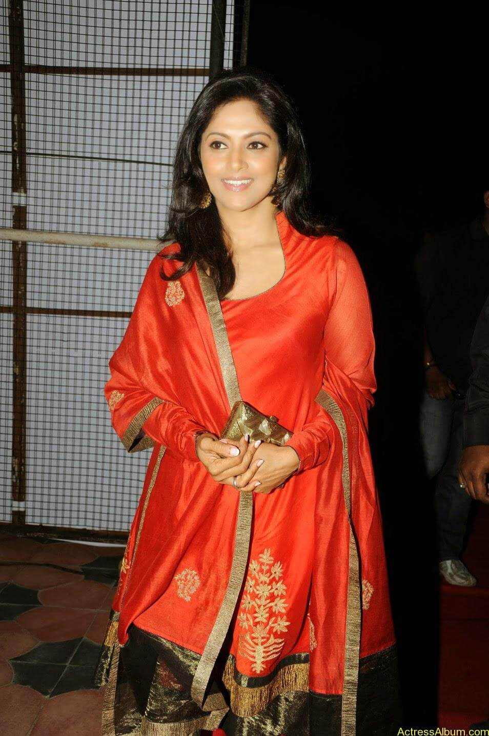 Nadhiya in beautiful orange anarkali dress 1