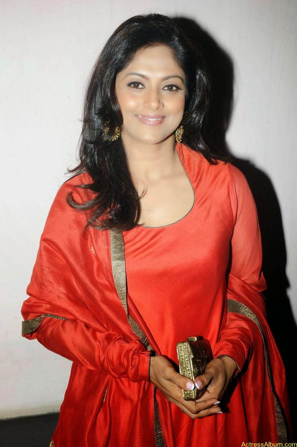 Nadhiya in beautiful orange anarkali dress 5