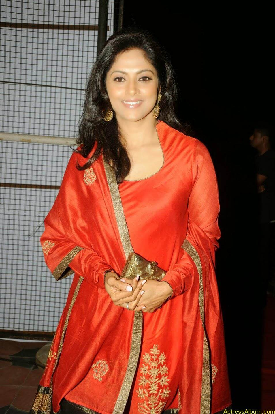 Nadhiya in beautiful orange anarkali dress 6