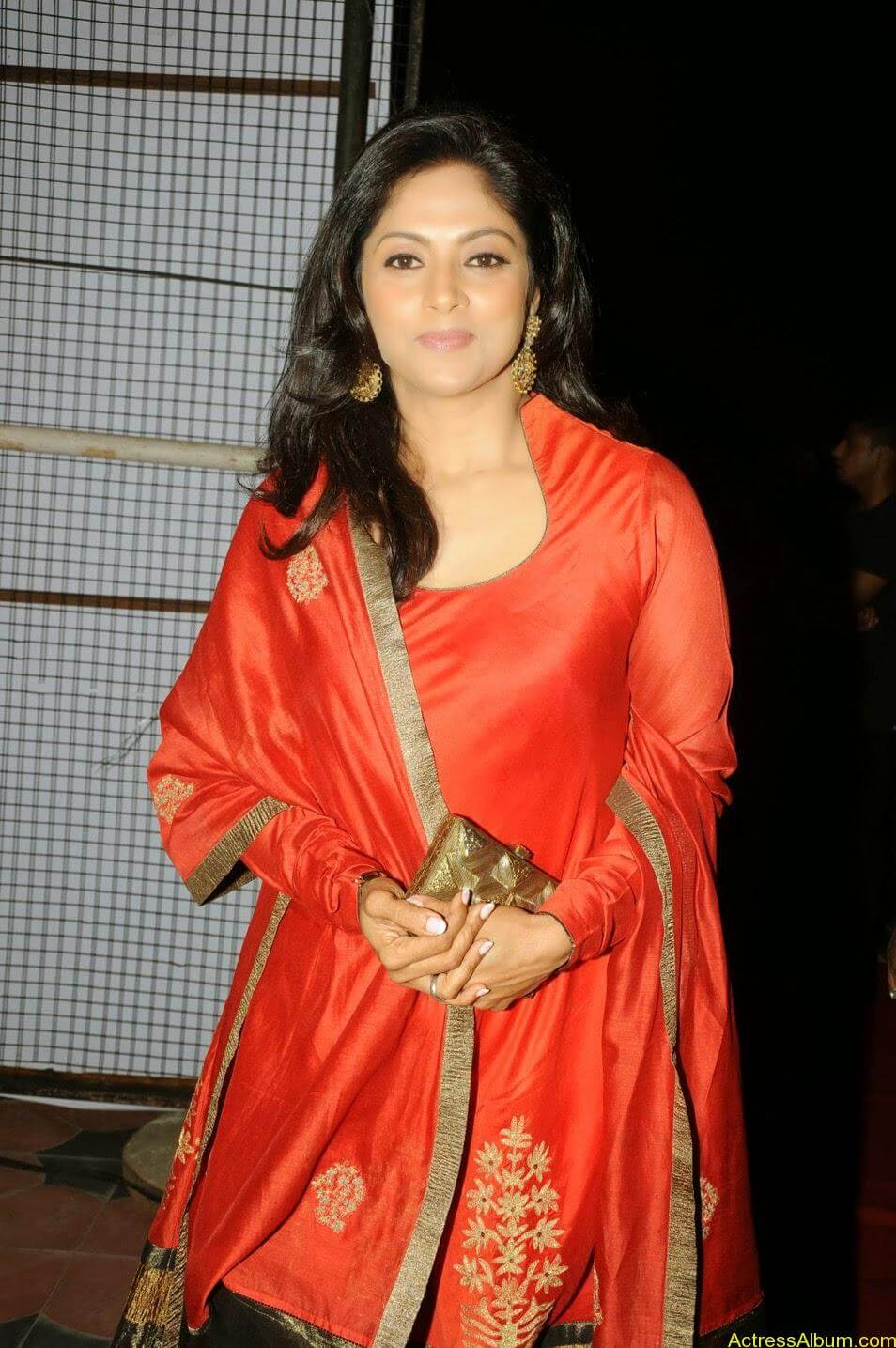 Nadhiya in beautiful orange anarkali dress 7