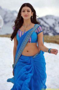 Shruthi Hassan Hot Pics in Blue Saree
