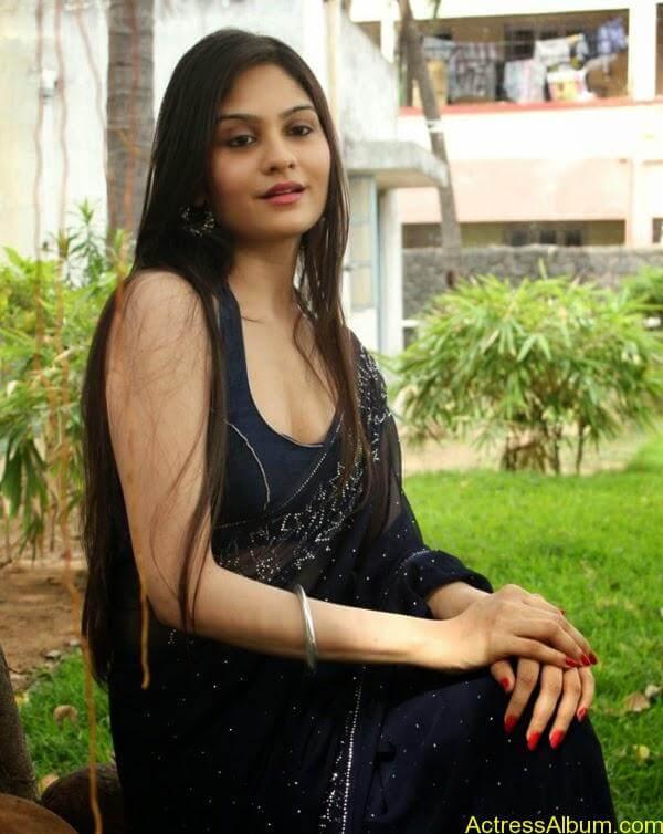 Tamil Actress Vibha Natarajan Hot Photos in Dark Blue Saree